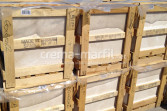 Crema Marfil marble tiles crates